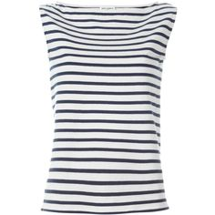 Saint Laurent sleeveless stripe top ($535) ❤ liked on Polyvore featuring tops, striped top, white top, stripe top, boat neck striped top and boatneck top