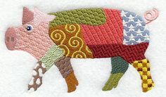 Patchwork Pig - Embroidered Decorative Absorbent White Cotton Flour Sack Towel, Linen Tea Towel, Waffle Towel