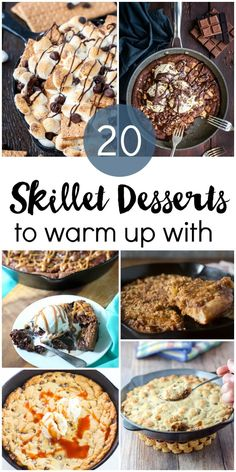 20 skillet desserts to warm up with this winter. Brownies, cookies, s'mores, fruit and more. Desserts 20 Skillet Desserts to Warm Up With Cast Iron Skillet Cooking, Iron Skillet Recipes, Cast Iron Recipes, Skillet Meals, Skillet Food, Winter Desserts, Easy Desserts, Delicious Desserts, Dessert Recipes