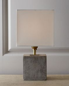 Regina-Andrew Design Concrete Cube Mini Lamp - Neiman Marcus, $210 -- concrete lamps are hugely trending right now