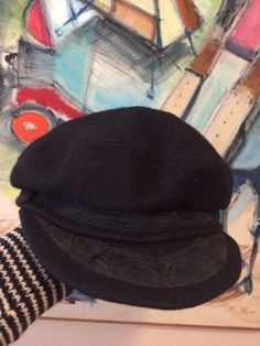 Vintage Wool Greek Fisherman hat cap sz 7 3 8 Black Unisex Made in Greece  Aegean 2dffa22dbf50