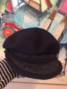 6accb1698a1 Vintage Wool Greek Fisherman hat cap sz 7 3 8 Black Unisex Made in Greece  Aegean
