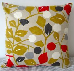 Cushion cover  floral retro red white grey and by miaandstitch, $25.00