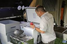 lightweight off-road camper trailer kitchen with 12V camping fridge
