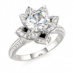 LOTUS BLOSSOM ROYAL | Designer Engagement Ring with Swarovski Brilliance Cubic Zirconia White in 14k White Gold
