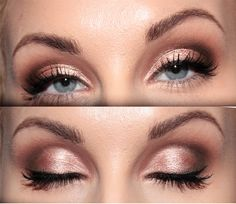 Golden pink and reddish brown makeup- Bring out the Blues!!