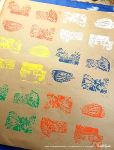 """Fun New Hand-Printed Wrapping Paper, """"Colorful Tabbies"""""""