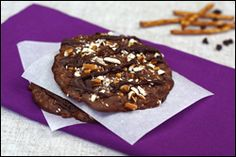 Hungry Girl Chocolate Pretzel cookies.  Her stuff tends to be a little sweet for me so I'd cut back on the sugar.