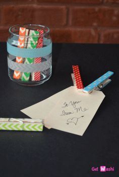 Washi Tape Covered Clothes Pins and Glass Jar – www.GetWashi.com