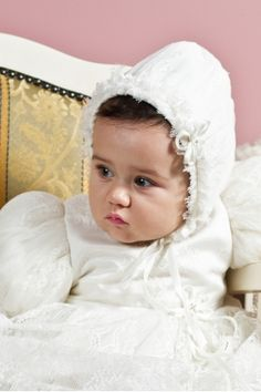 """Bonnet for baby girls, made from the finest Chantilly silk lace, matched with the """"Belle"""" gown, Petite Coco. Baby Christening, Winter Collection, Little Girls, Gowns, Silk, Lace, Fabric, Beautiful, Fashion"""