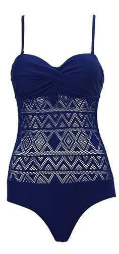 Blue Ruched Geometric Monokini