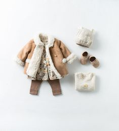 Zara Baby Double Breasted Jacket with Floral and Leggings