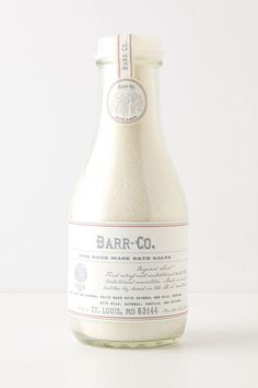 barr-co. fine handmade bath salts with mineral salts, milk powder, colloidal oatmeal, and the scent of milk, oatmeal, vanilla, & vetiver