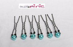 Lot de 6 pics à chignon couleur bleu turquoise - personnalisable : Accessoires coiffure par creation-ninie