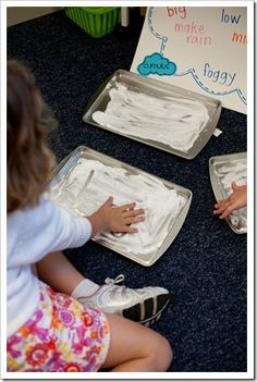 make clouds with shaving cream and glue