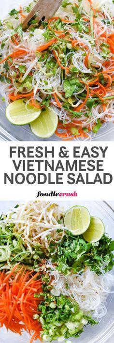Fresh and Easy Vietnamese Noodle Salad Recipe | Spring Rolls Salad Recipe | Rice Noodle Salad Recipe | Vermicelli Noodle Recipe foodiecrush.com #noodlesalad #vietnamesefood