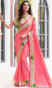 Salmon Color Chiffon Fancy Party wear Sarees with Stitched Blouse | FH452770954