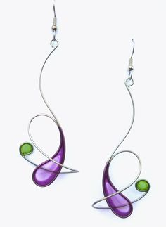 Stainless steel dangle earrings in purple and light olive- handmade jewelry. Christopher Royal Studio. These featherweight earrings are made by hand-bending stainless steel and then dipping the form into a translucent, dyed resin, which creates a permanent crystal-like film. They are super lightweight jewelry and yet quite durable. The ear wires on these earrings are surgical steel.