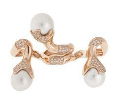 SAZINGG Pink Gold and Pearls Ring # sazingg #pinkgold #pearls #ring