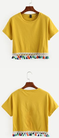 Yellow Tassel Trimmed Crop T-shirt