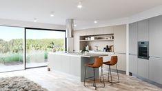 Trendy kuchyň 2020: Digestoř pod sporákem a návrat stěn Trendy, Kitchen, Table, Furniture, Home Decor, Design, Cooking, Decoration Home, Room Decor
