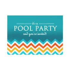 Modern Chevron Pool Party Invitations by reflections06