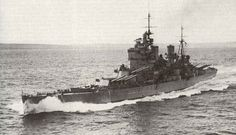 Battleship HMS King George V with her 14-in guns trailed to port.  Royal Navy - WW2.