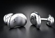 """Tiffany & Co. Cuff Links ~ Designer """"Elsa Peretti""""  Bean Collection ~ Solid Silver ~ Heavy"""