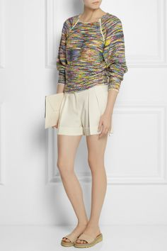 Chloé | Bouclé-knit sweater | Moschino | High-rise crepe shorts | See by Chloe | Leather slides | Stella McCartney | Faux leather clutch