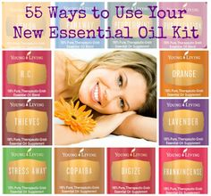 55 Ways to Use Your New Essential Oil Kit. Wondering how to get started? This article has great shareable graphics, dilution guidelines and uses for the oils in the new Young Living Premium Starter Kit.