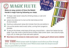A cute magic flute for you to make with kids! From Storytime Issue 12. See more at ~ STORYTIMEMAGAZINE.COM