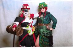 Steampunk Harley Quinn & Poison Ivy. Harley outfit made by L.S. Day