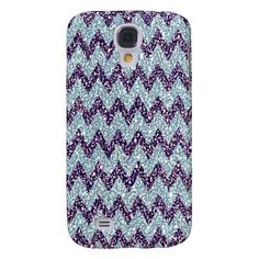 Faux Glitter. Unique, trendy and pretty Samsung Galaxy S3 case. Beautiful shiny purple violet and light pastel blue classic chevron zigzag stripes pattern design. For the fashionista and diva, bling and sparkle, or glamour and glitter lover amongst us. Cute and fun gift for the girly girls or mom's birthday, Mother's day or Christmas present. Original, classy, chic cover for the elegant and sophisticated woman. Also for iPod 4G 5G, iPhone 3 4 5, Galaxy S2 S3, Motorola Droid Razr, iPad, etc.