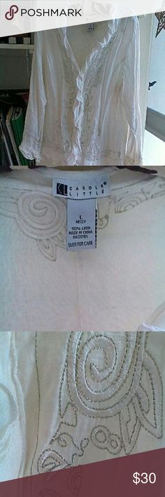 Carole Little blouse Carole Little 100% linen blouse with ruffles. Silver gold threads stitching. Excellent condition. Carole Little Tops Blouses