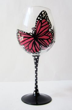 hot pink Monarch Butterfly - wine glass - rhinestones 20 oz