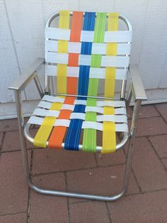 Vintage Folding Lawn Chair Aluminum Retro By LitterandVintage, $35.00