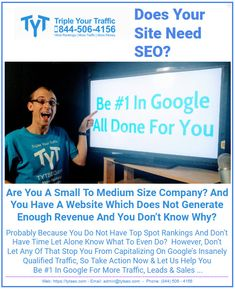Triple Your Traffic (TYT) is one of the top SEO companies that focuses on creating more ROI than any other SEO companies out there. Seo Company, Michigan, Thing 1