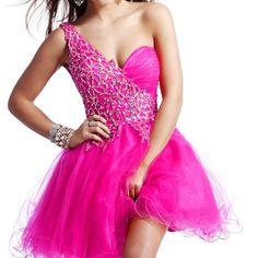 Trendy fuchsia short prom graduation dresses unique style under 100 cheap
