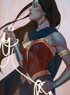 The princess of the Amazons, Wonder Woman is one of Earth's most powerful defenders of peace and equality and a member of the Justice League. She is often considered an archetype for the comic book superheroine. Her original origin depicted her as a clay figure brought to life by the gods, but in recent years she has been depicted as the daughter of Zeus and the Amazon queen Hippolyta.