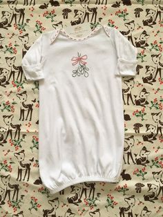 Hand Embroidered Peter Rabbit White Cotton Baby Gown by MaryEGuad