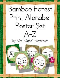 Bamboo Forest (panda theme) Print Alphabet Posters (Alphabet Line) Alphabet Line, Cursive Alphabet, Alphabet Posters, Student Name Plates, Birthday Bulletin Boards, Theme Words, Classroom Themes, Bamboo, Lettering
