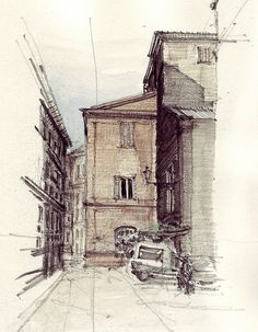 Via dei Maconiti, pencil drawing with water colour Bad Drawings, Drawing Sketches, Pencil Drawings, Sketch Inspiration, Painting Inspiration, Watercolours, Watercolor Paintings, City Drawing, Building Drawing