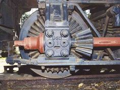 The bevel gear and crown wheel on Shay's rear axle.