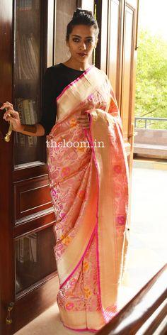 Handwoven Pink Silk Saree