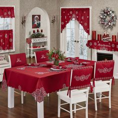 The Snowflake Table Linens decorate with a flurry of holiday elegance. Polyester satin table accessories feature snowflake embroidery on dark red.To make sure that you get the beautiful valentines day table decor, there are three things that you can Christmas Dining Table, Christmas Chair, Christmas Table Decorations, Valentines Day Decorations, Holiday Tables, Decoration Table, Holiday Decor, Thanksgiving Table, Modern Christmas