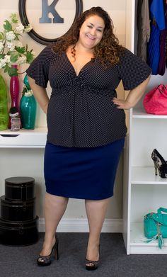Vannessa, Real Curves Cutie and Kiyonna's Wholesale Manager is looking perfect in polka dots with the Abby Twist Top and Priscilla Knit Pencil Skirt. Vannessa is and wears a size Curvy Women Fashion, Big Fashion, Skirt Fashion, Plus Size Fashion, Plus Size Skirts, Plus Size Tops, Plus Size Women, Plus Size Outfits, Knit Pencil Skirt
