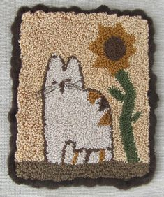 Inside my patterns + a free calico cat pattern - DoodleDog Designs Primitives Penny Rug Patterns, Rug Hooking Patterns, Card Patterns, Hand Work Embroidery, Cross Stitch Embroidery, Embroidery Patterns, Primitive Stitchery, Punch Needle Patterns, Photo Chat