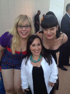 """What's happened, I've suddenly gone deaf"", said Meredith. Three amazing actresses. Kristen Vangsness, (Criminal Minds), Meredith Eaton, (NCIS LA) and Pauley Perrette, (NCIS)."