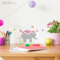 Nellie Elephant stencil from The Stencil Studio Ltd - Size XS. Who could know elephants are pretty? thestencilstudio.com have created this lovely elephant stencil, perfect for a childs room. Brighten up your walls and paint her in different colours, would make a lovely stencilled border on a nursery wall.