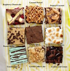 Think outside of the box brownies for delicious flavors you'll love. Will make caramel and grasshopper using a natural color (red berry or blue berry) Bake Sale Treats, Bake Sale Recipes, Baking Recipes, Cookie Recipes, Dessert Recipes, Box Brownie Recipes, Brownie Ideas, Baking Desserts, Brownie Toppings